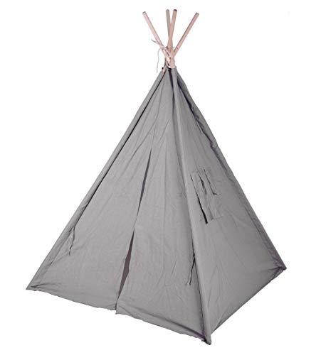 Kinder Spielzelt 160 cm - Farbe: grau - Kinderzimmer Tipi Kinderzelt Wigwam Indianerzelt Zelt