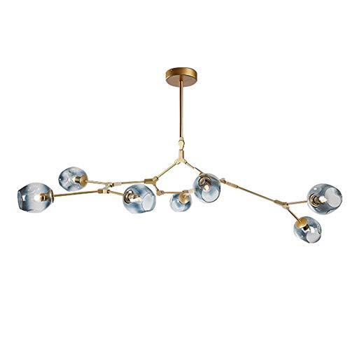 TopDeng Sputnik Moléculas Lámpara De Araña, E27 Vintage Industrial Rama Ajustable Techo Araña Con Vidrio Soplado A Mano Globo Sombra-dorado-7 Luces Azul