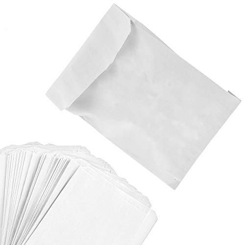 Paper Sandwich Bags Bulk Wax Paper (200 Pack) 7' x 6' x 1' Wet Wax Paper Bags - Food Grade Grease Resistant Wax Bags - White Glassine Bags - Paper Bags for Bakery Cookies, Candy, Snacks, French Fries