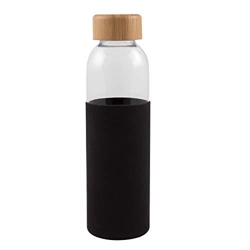 Desconocido Botella Fabricada en Cristal y tapón de bambú de 500 ml de Capacidad con Funda de Silicona.