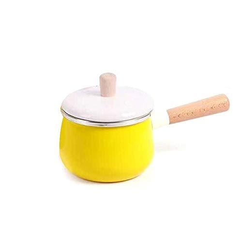 JMAHM Stockpots - Pentola smaltata, antiaderente, per latte, tè, caffè, uova, bollitore, manico in legno, grande capacità con coperchio (vaso da latte giallo)