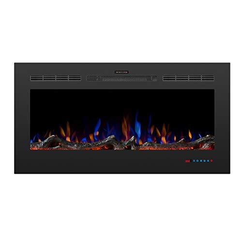 ZOEON Elektrokamin mit Heizung 750/1500W - Wandkamin Elektrisch 42 Zoll mit Fernbedienung - LED Kamin mit Berührungssensitiver Bildschirm - Dekokamin Flammeneffekt mit Timer