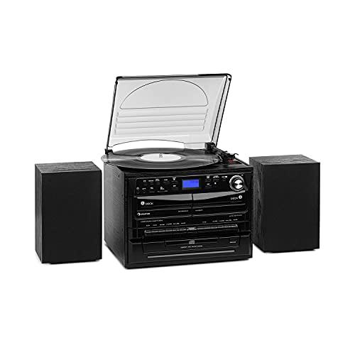 Auna 388 - Impianto Stereo Dab+, 20W Max, 2X Altoparlanti, Bluetooth, Sintonizzatore Radio FM Dab+, Giradischi, Lettore CD, MP3, 2 Mangiacassette, USB, Slot SD, Telecomando, Nero