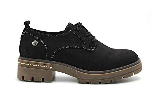 Niko Amore - Zapato Blucher de Antelina con Cordones y tacón, Suela de Goma, para: Mujer Color: Negro Talla:38