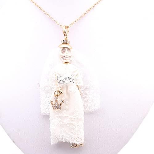 QiuYueShangMao Collar Colgante, Collar, Boda, muñeca, Blanco, Mujer, Vestido de Boda, Collar...