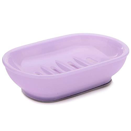 Jaboneras Doble Entramado Jabonera Caso Cuadro Titular de contenedores Inicio Baño Ducha Viajes de Camping Familia Linda Bandeja Oval de jabón Bandeja de jabón para (Color : Purple)