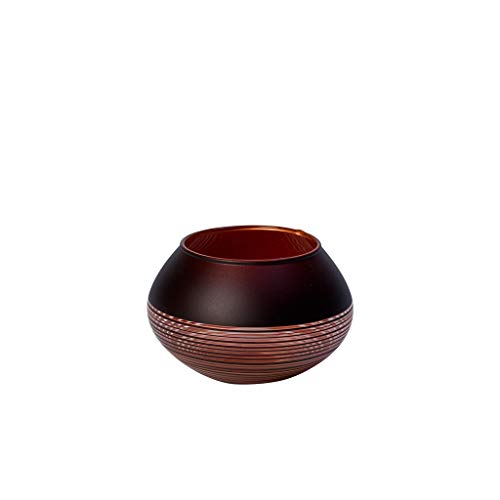 Villeroy & Boch Manufacture Swirl Teelichthalter, 7 cm, Kristallglas, Schwarz/Bronze
