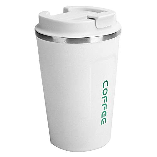 Taza de café aislada de 12 oz, taza de café de acero inoxidable Taza de vacío Taza de café portátil para automóvil de doble capa a prueba de derrames(blanco)