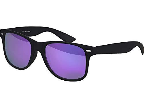 Balinco Sonnenbrille UV400 CAT 3 CE Rubber - mit Federscharnier für Damen & Herren (schwarz - lila)