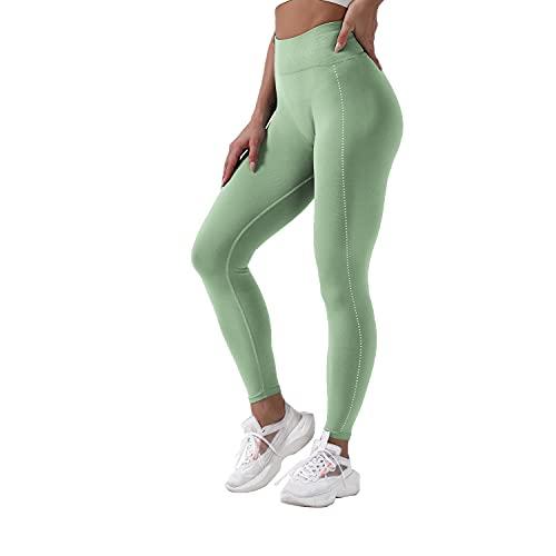 QTJY Pantalones de Yoga elásticos Suaves y Sexis para Mujer, Medias de Cintura Alta a la Cadera, Push-ups sin Costuras, Celulitis, Ejercicio, Gimnasio, Pantalones Deportivos J M