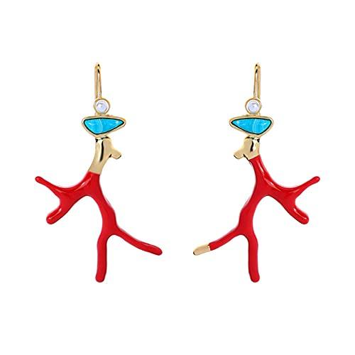 Pendientes únicos de Coral esmaltado rojo para mujer, pendientes de rama de perla acrílica de resina, Color, nueva joyería de moda, regalos para fiestas navideñas