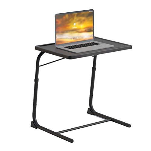 NICEME Klappbar Laptop Beistelltisch | Desktop Neigungsverstellbar Couch-Tisch | Höhenverstellbar 6 Höheneinstellungen | Mit Getränkehalter (Color : Schwarz)