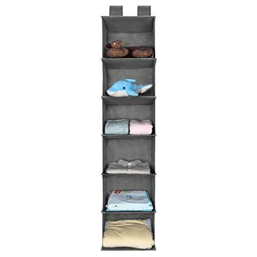 UMI. Essentials Kleiderschrank Organizer Hängeaufbewahrung, hängender Stoffschrank mit 6 Breiten Fächern, Ordnungssystem für Schrank, grau