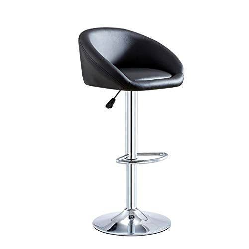 Back Side Stoelen Modern PU Leather Verstelbare Swivel Bar Stool, Chrome voetensteun en BASE Bar Stoelen ontbijt eten Kruk for Pub Counter, kookeiland En Thuis Barkruk Black (Size : 60~80cm)