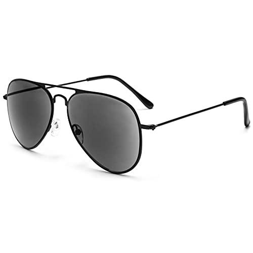 VEVESMUNDO Gafas Sol de Lectura Presbicia Aviador Proteccion UV Grande Marco de Metal y Bisagras con Funda para al aire libre Anteojos de Leer Graduadas (Gafas de lectura de sol, 3.0)