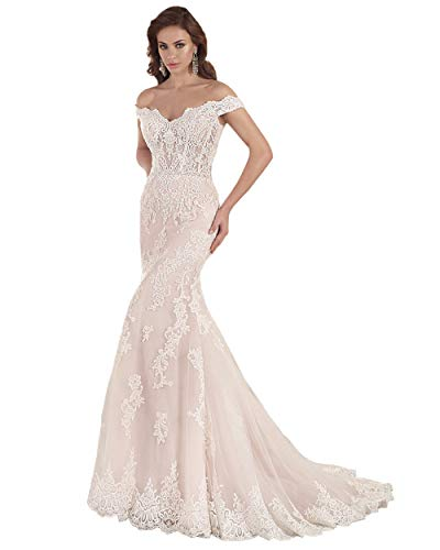 Miao Duo Women's Lace Appliques Wedding Dresses Off Shoulder Scalloped Neck Mermaid White Wedding Dress for Bride 2020 White 8