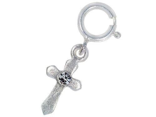 Nagelpiercing Kreuz Silber Mit Stein Klar - 925 Sterling Silber - Nailart Finger Fuß