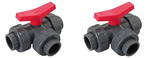 Well2wellness® Pvc-Kugelhahn 3-weg Klebeanschluss met T Bore 50mm - 2 stuks