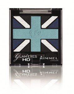 Rimmel London Glam Eyes HD Quad Eye Shadow Nr. 003 Royal Blue Farbe: Silber / Smaragdgrün / Schwarz...