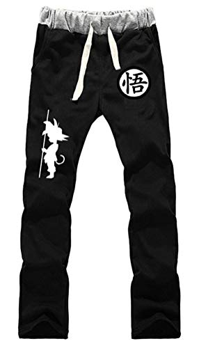 WANHONGYUE Anime Dragon Ball Z Goku Jogger Pantalones Deportivos Cosplay Disfraz Largos Sweat Pants Noos Trousers con Bolsillos Negro 2 S