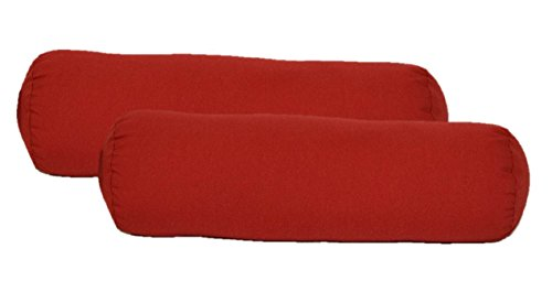 Resort Spa Home Decor Set of 2 Indoor/Outdoor Decorative Bolster/Neckroll Pillows - Solid Red