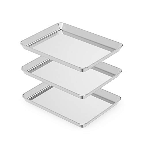 Small Stainless Steel Baking Sheets Set 3,Mini Cookie Sheets, Toaster Oven Tray Pan Rectangle Size 9.4Lx7Wx1H inch Non Toxic & Healthy,Superior Mirror Finish & Easy Clean by HEAHYSI, Dishwasher Safe