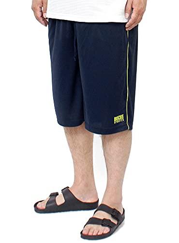 DISCUS(ディスカス) ショートパンツ メンズ 大きいサイズ 吸汗速乾 ドライ メッシュ ロゴ プリント サイドライン ハーフパンツ 3L ネイビー(67)
