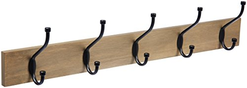 AmazonBasics Wall-Mounted Farmhouse Coat Rack, 5 Standard Hooks, Barnwood