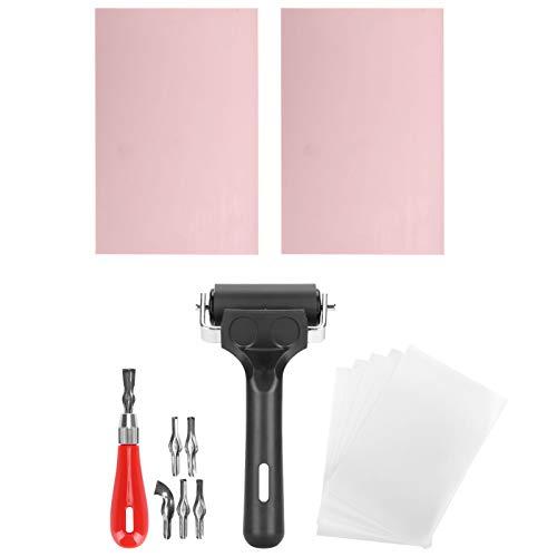 Kit de herramientas de inicio de impresión de bloques con herramienta de corte de linóleo, papel de calco, bloque de goma, rodillo Brayer para manualidades de tallado de sellos...