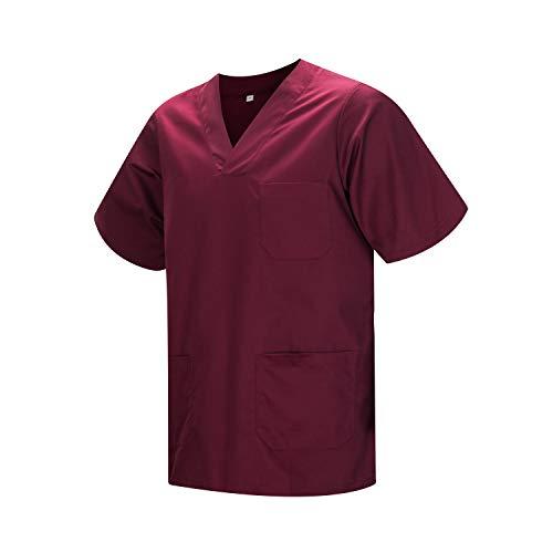 MISEMIYA - Abbigliamento Lavoro Unisex Collo Picco Maniche Corte Uniforme Clinica Ospedale Pulizia Veterinario IGIENE OSPITALITÁ - Ref.817 - Medium, Granato