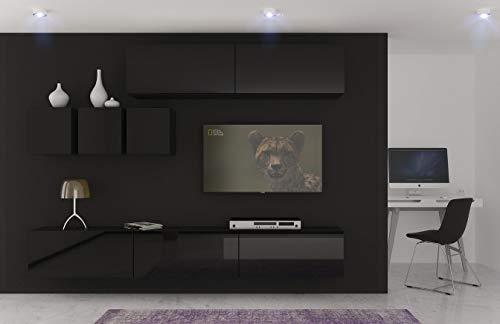 Home Direct Toronto N273 Schwarz Modernes Wohnzimmer Wohnwand Wohnschrank Schrankwand Möbel Mediawand (AN273-17B-HG20 1B groß)