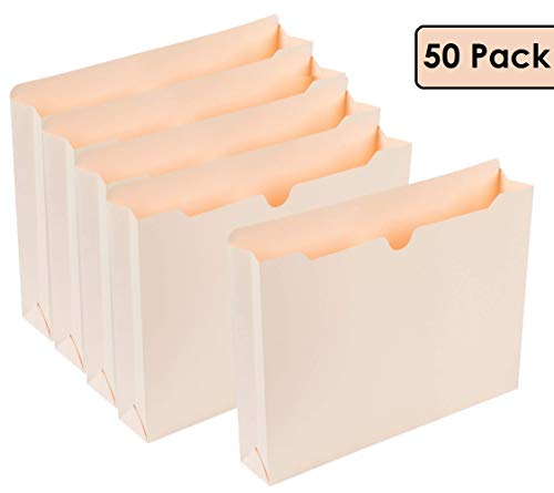 """1InTheOffice Manila Expanding File Jacket, 2"""", Letter,""""50 Pack"""" (2 Inch)"""