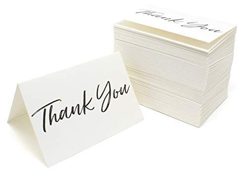 Tarjetas de agradecimiento y sobres de color negro con fuente blanca – Caja a granel de 100 notas para bodas, graduaciones, baby showers, cumpleaños, Negro
