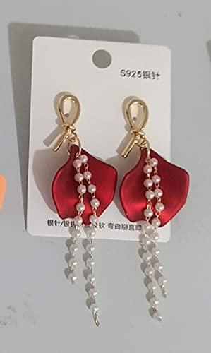 Orecchini a petalo con nappa annodata semplici ago in argento 925 piccoli perline di riso fresco petali di nappa orecchini ad ago in argento C.