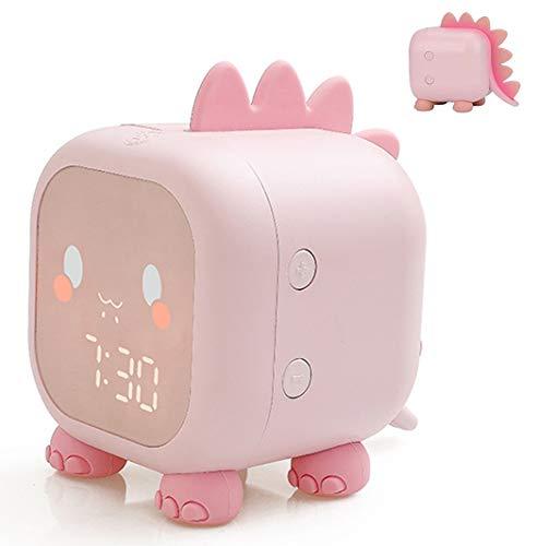 VABOO Despertador Infantil, Reloj Despertador Digital para Niños con luz nocturna LED,Wake up Light,6 Sonidos Naturales,Función Snooze, 2 Alarmas, Despertador Recargable para Dormitorios