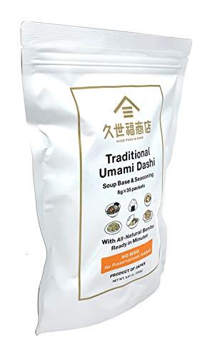 Traditional Umami Dashi Soup Base & Seasoning- 8g x 35 Packets- With All-Natural Bonito- Ready in Minutes - Product of Japan