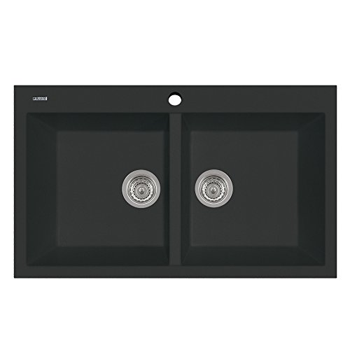 Plados Lavello Cucina incasso 2 vasche L 86cm Black Matt AM8620 UG70 Elegance 86.20