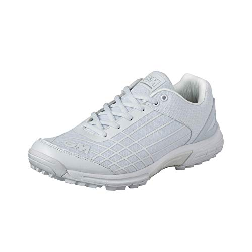 GM Cricket Shoes ICON All Rounder with Rubber Studs (Color - White) ' Mens Size
