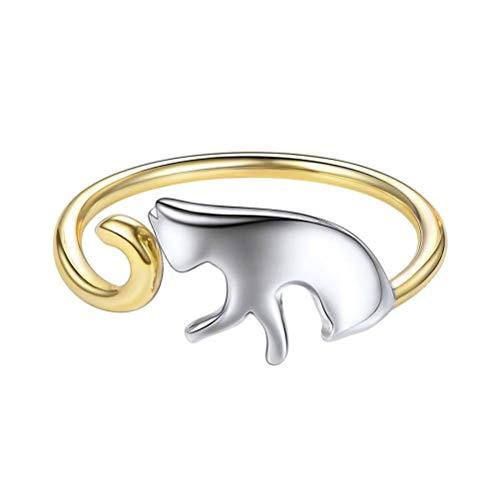 Damen 925 Sterling Silber Ring, Gold Origami Cat Kitten Neuheit Öffnen Verstellbarer Fingerring Für Frauen Freundin, Hochzeitstag Verlobung Ewigkeit Brautschmuck Festival Geschenk