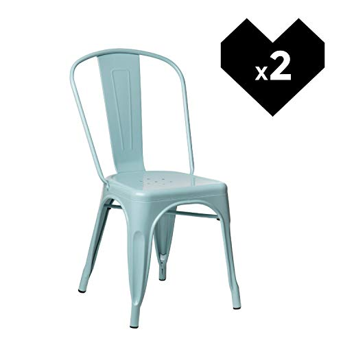 SKLUM Pack 2 Sillas LIX Azul Isla Paraíso Sillas Estilo Industrial Acabado Brillante