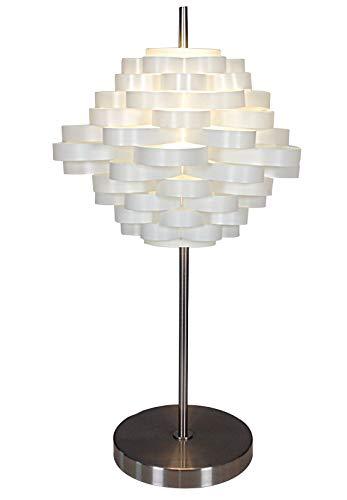 Naeve Leuchten Deko-Tischleuchte/exklusiv Leuchtmittel/mit Schnurschalter/Höhe: 61 cm/ø 35 cm/Metall/Kunststoff, metall blank/weiß 3025823