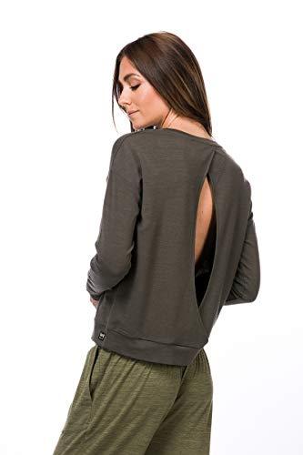 super.natural Bequemes Damen Yoga-Shirt, Mit Merinowolle, W JONSER SWEATER, Größe: M, Farbe: Khaki