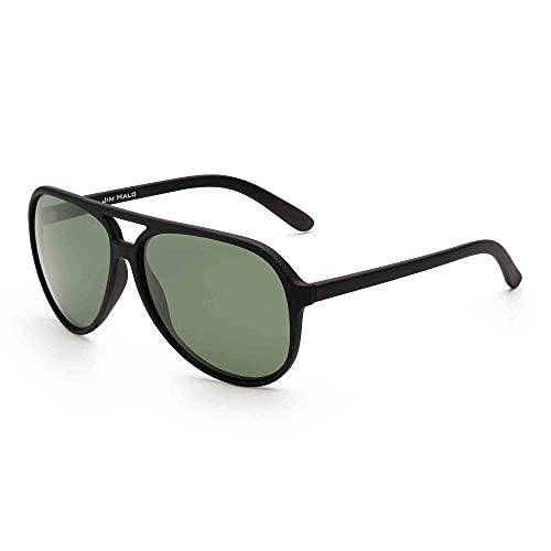 JIM HALO Polarizadas Aviador Gafas de Sol Hombre Mujer Oversize Plástico Conduciendo Anteojos(Marco Negro Mate/Lente Verde Polarizado)