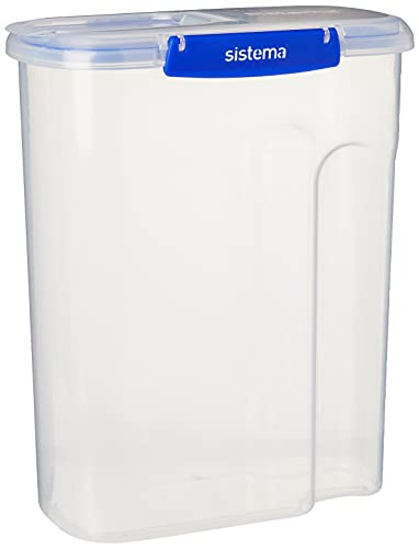 Sistema KLIP IT PLUS Cereal Storage Container | Airtight 4.2 Litre Food Pantry Storage Container | 4.2L | BPA-Free