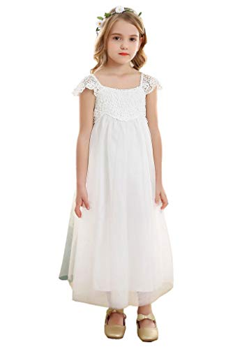 Bow Dream Vintage Rustic Baptism Lace Flower Girl's Dress White Tulle 10