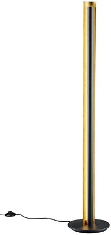 Trio Leuchten LED Stehleuchte, Metall, Integriert, 15 W, Schwarz Goldfarbig, 25 x 25 x 142.5 cm