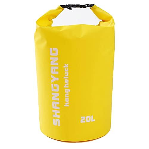 30l impermeable bolsa seca mochila flotante rollo superior doble correa saco para kayak, canotaje, camping, pesca en la playa (amarillo)