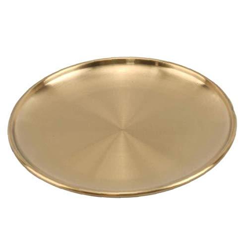 Tuimiyisou Platos de cena de oro estilo europeo de acero inoxidable platos para servir plato redondo pastel Steak Tray 14cm