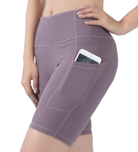 JPGO Womens Workout Shorts, High Waist Out Pocket Yoga Shorts Tummy Control Home Gym Running Jogging Cycling Summer Exercise Shorts for Women Athletic Non See-Through Yoga Pants Purple, M