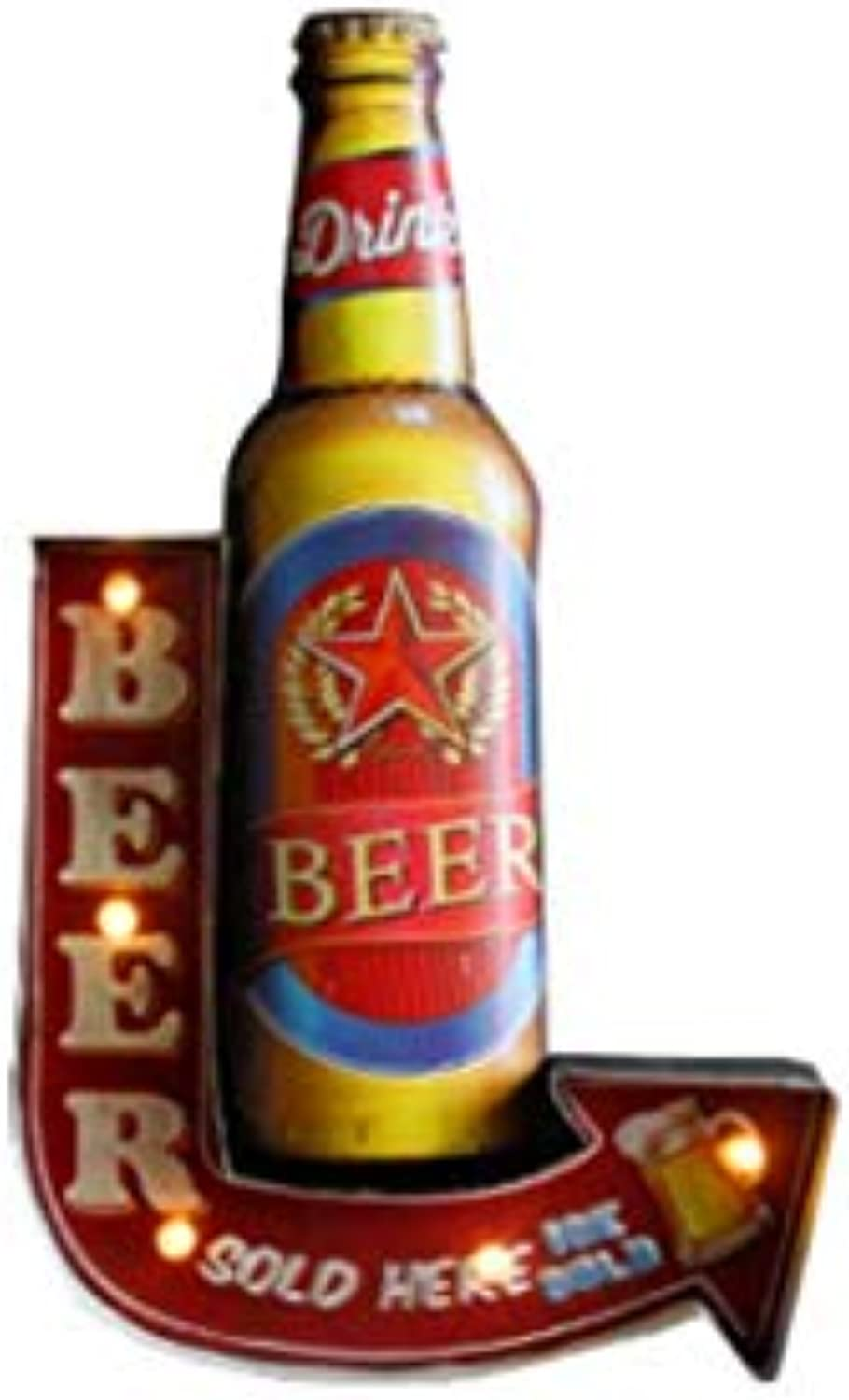 Bar Cafe Light Sign, Creative Retro Wall Hanging LED Decoration-53cm (21 ),Light Bulb Night Lamp, Metal (BEER)